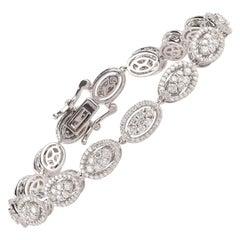 TJD 4.00 Carat Brilliant Cut 18 Karat White Gold Diamond Bracelet