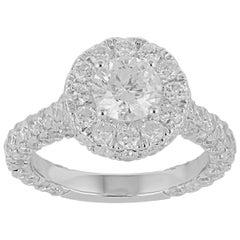 TJD 4.00 Carat  Round Diamond 18 Karat White Gold Engagement Ring