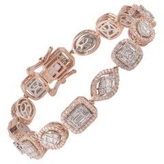 TJD 4.00 CTW Round Baguette and Princess Diamond 18 K Rose Gold Mosaic Bracelet