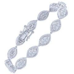 TJD 4.00 Carat TDW 14 Karat White Gold Composite Diamond Bracelet