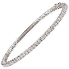 TJD 4.20 Carat Brilliant Cut 18 Karat White Gold Diamond Bangle