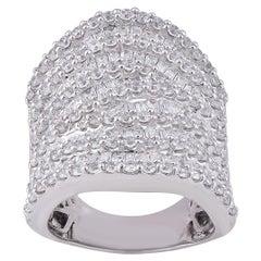 TJD 5 Carat Round/Baguette Diamond 14 Karat White Gold Multi-Layer Wedding Band