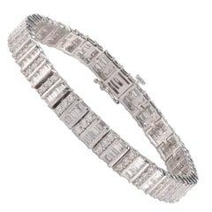 TJD 5.00 Carat Alternating Round and Baguette Diamond 18 K White Gold Bracelet