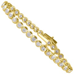 TJD 5.00 Carat Natural Diamond 14 Karat Yellow Gold Bezel Set Tennis Bracelet