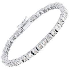 TJD 5.00 Carat Round & Baguette Alternate Diamond 14K White Gold Tennis Bracelet