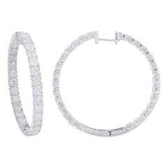 TJD 5.00Carat Round 14Karat White Gold Designer Inside Out Diamond Hoop Earrings