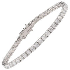 TJD 8.00 Carat Diamond 14 Karat White Gold Prong Set Classic Tennis Bracelet