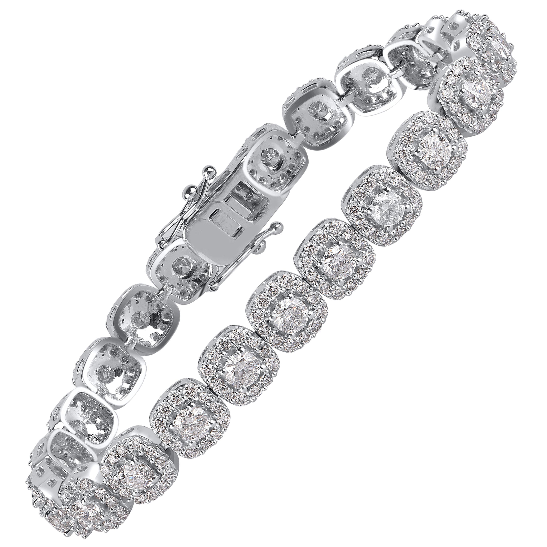 TJD IGI Certified 8.00 Carat Diamond 10 Karat White Gold Halo Link Bracelet