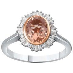 TJD Brilliant and Baguette Diamond and Morganite 18 Karat Gold Engagement Ring