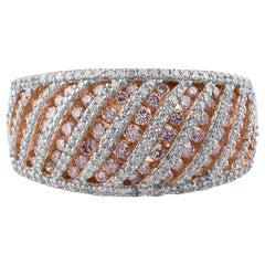 TJD Certified 1.00 Carat Natural Pink and White Diamond 18 Karat Engagement Ring