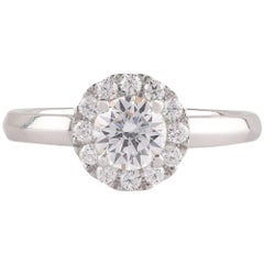 TJD GIA Certified 1.00 Carat Diamond 18 Karat White Gold Halo Engagement Ring