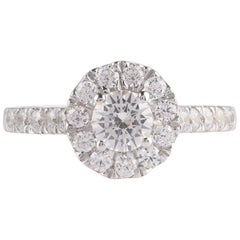 TJD GIA Certified 1.25 Carat Diamond 18 Karat White Gold Halo Engagement Ring