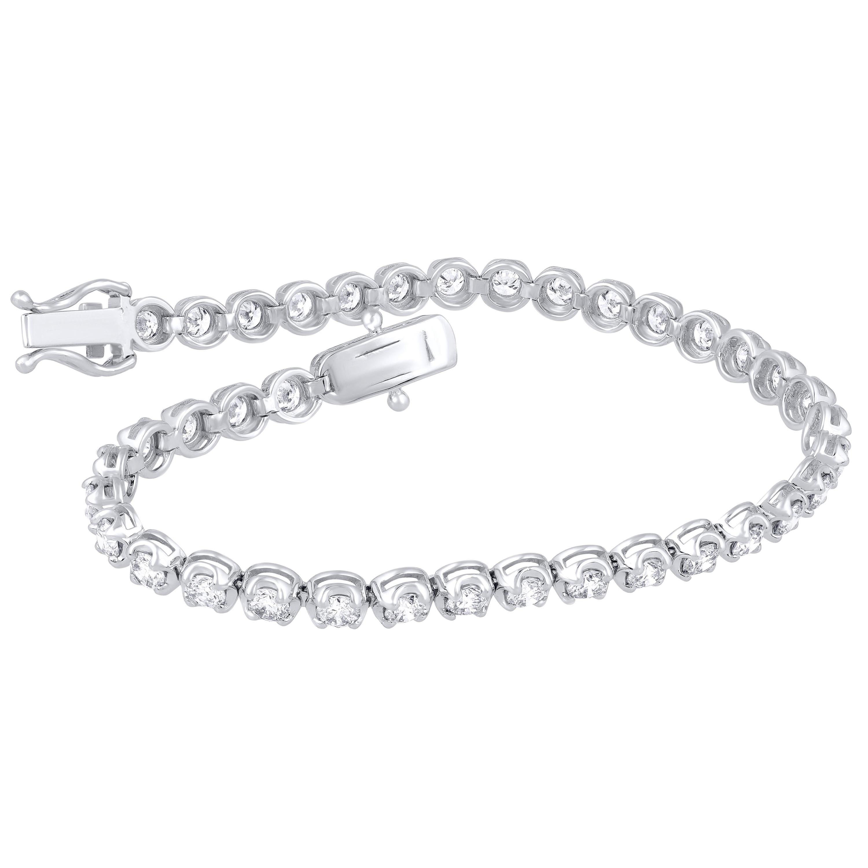 TJD IGI Certified 4 1/3 Carat Diamond 18 Karat White Gold Tennis Bracelet