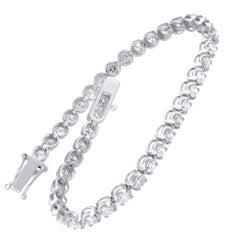 TJD IGI Certified 5.00 Carat Natural Diamond 14 Karat White Gold Tennis Bracelet