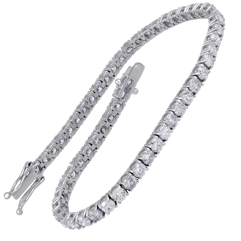 TJD IGI Certified 6.00 Carat Diamond 14 Karat White Gold Classic Tennis Bracelet