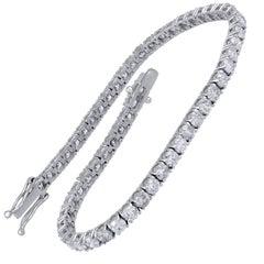 TJD IGI Certified 6.00 Carat Natural Diamond 14 Karat White Gold Tennis Bracelet