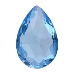 TJD Loose Natural Swiss Blue Topaz 5.15 Cts Pear Shape Gemstone for Ring/Pendant