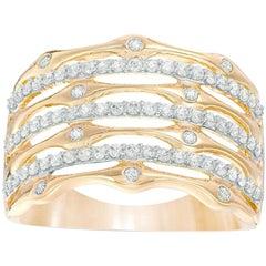 TJD Round Diamond Yellow Gold 10 Karat Multi-Row Cocktail Ring