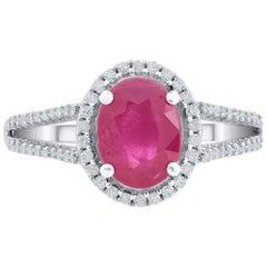 TJD Diamond and Natural Ruby 18 Karat White Gold Cocktail Ring