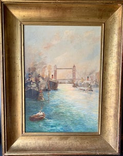 20th century View of Tower Bridge on the Thames in London, with boats, men