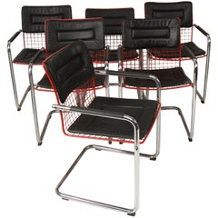 TMU Style Wire and Chrome Cantilevered Armchairs