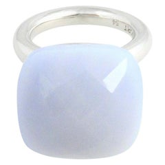 'To a 'Dream Planetoid' Lavender Chalcedony White Gold-Plated Cocktail Ring