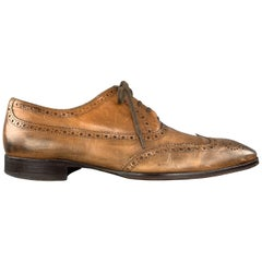 TO BOOT NY Size 11 Tan Perforated Leather Wingtip Lace Up