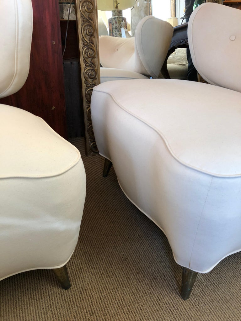 Sexy Pair of Gilbert Rohde Style Mid-Century Modern French Lounge Club Chairs For Sale 6