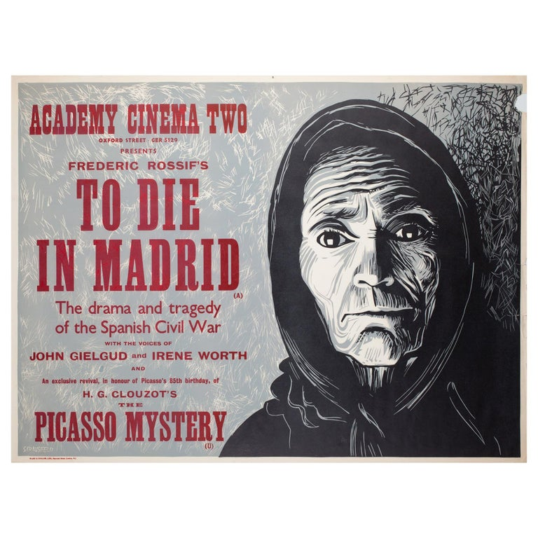 """""""To Die in Madrid"""", 1967 Academy Cinema UK Quad Film Poster, Strausfeld For Sale"""