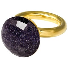 Yellow Gold-Plated Cocktail Statement Ring TO THE STARS Midnight Blue Sky