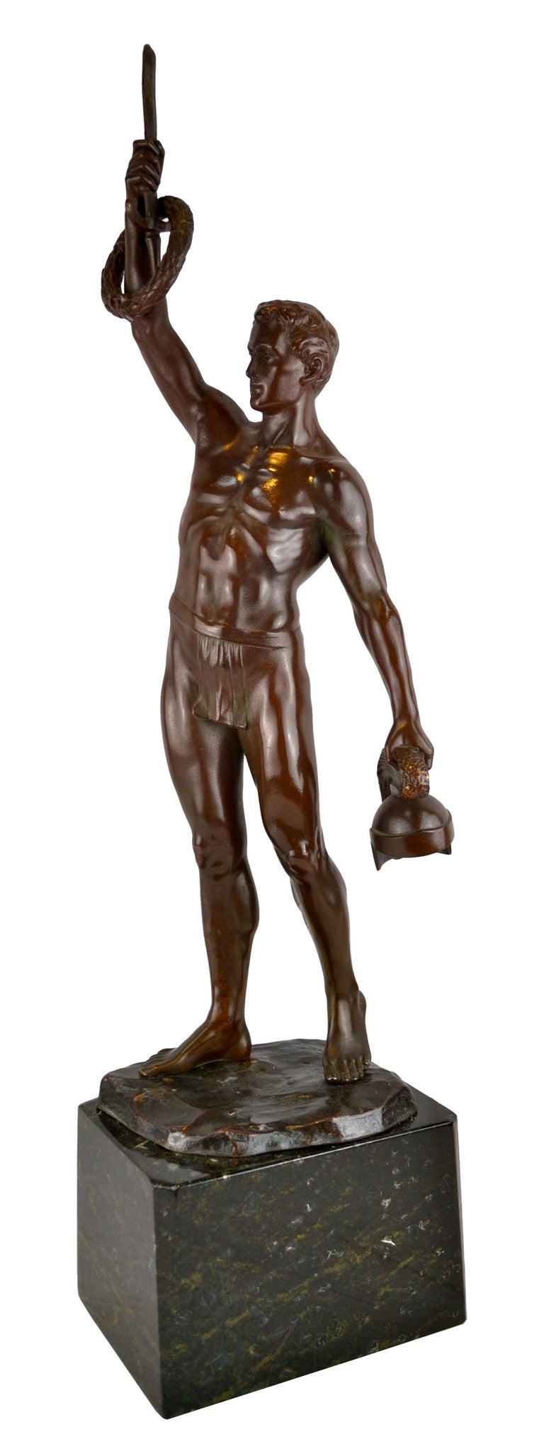 """Classical Greek """"To the Victor"""" Bronze by Hans Keck For Sale"""