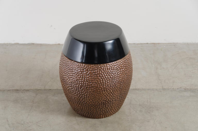 Toad skin barrel storage drum stool Antique copper Black lacquer Hand repousse Limited Edition Each piece is individually crafted and is unique.  Repousse´ is the traditional art of hand-hammering decorative relief onto sheet metal. The
