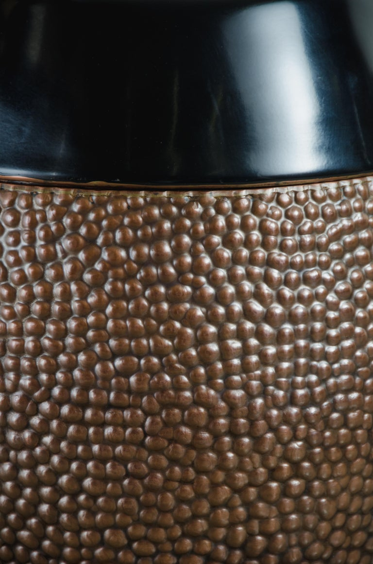 Contemporary Toad Skin Barrel Storage Drum Stool, Copper and Black Lacquer by Robert Kuo For Sale