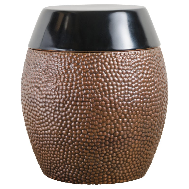 Toad Skin Barrel Storage Drum Stool, Copper and Black Lacquer by Robert Kuo For Sale