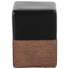 Toad Skin Block Drumstool, Black Lacquer and Antique Copper by Robert Kuo