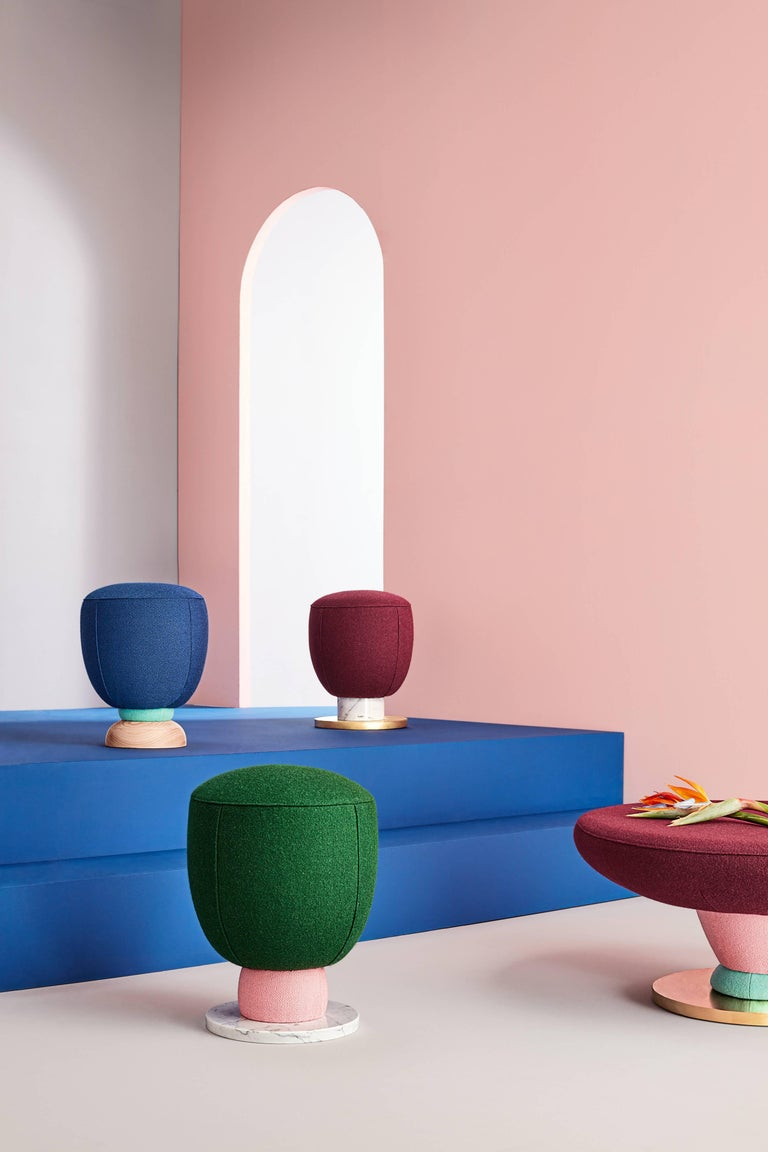 Toadstool collection blue puff Masquespacio  This collection of puffs, table and sofa bench designed by Masquespacio is inspired in the visual culture and graphic design always present one way or another in the creative consultancy projects. The