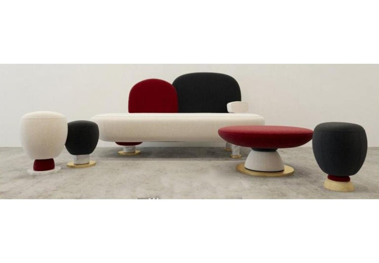 Toadstool Collection Ensemble Sofa, Table and Puffs, Masquespacio For Sale 6