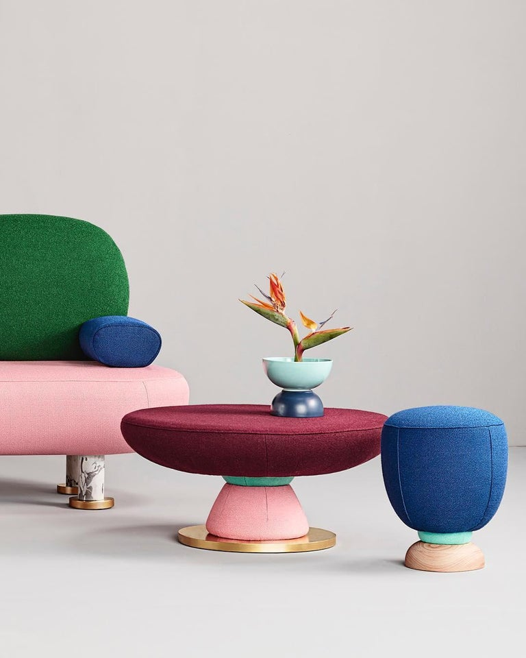 Toadstool Collection Ensemble Sofa, Table and Puffs, Masquespacio For Sale 7