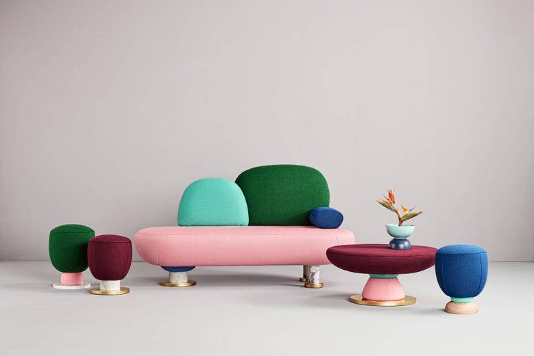 Toadstool collection ensemble sofa, table and puffs, Masquespacio  Made to order fabrics and colors can be chosen.  This collection of puffs, table and sofa bench designed by Masquespacio is inspired in the visual culture and graphic design