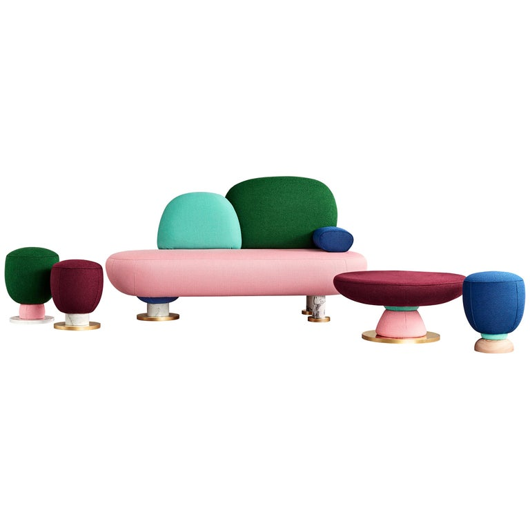 Spanish Toadstool Collection Ensemble Sofa, Table and Puffs, Masquespacio For Sale