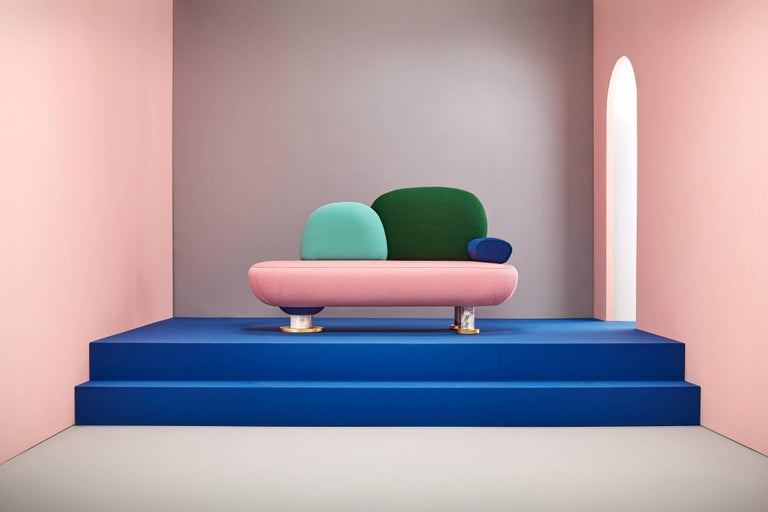Toadstool collection sofa, Masquespacio  This collection of puffs, table and sofa bench designed by Masquespacio is inspired in the visual culture and graphic design always present one way or another in the creative consultancy projects. The
