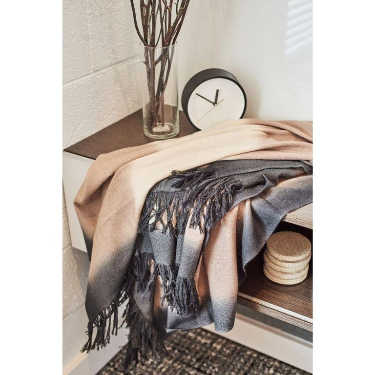 Toast Handloom Merino Throw / Blanket in Neutral Tones with Fringes For Sale 4
