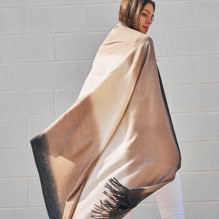 Toast Handloom Merino Throw / Blanket in Neutral Tones with Fringes For Sale 3