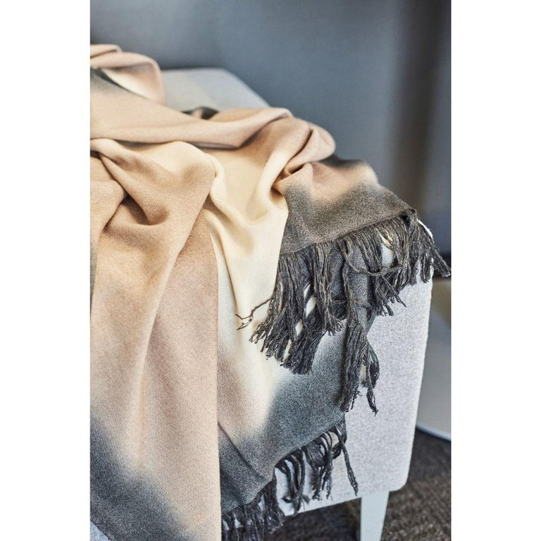 Toast Handloom Merino Throw / Blanket in Neutral Tones with Fringes For Sale 7