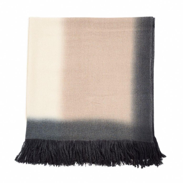 Nepalese Toast Handloom Merino Throw / Blanket in Neutral Tones with Fringes For Sale