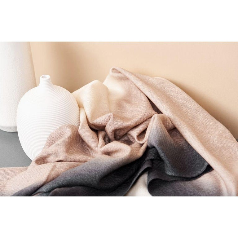 Contemporary Toast Handloom Merino Throw / Blanket in Neutral Tones with Fringes For Sale