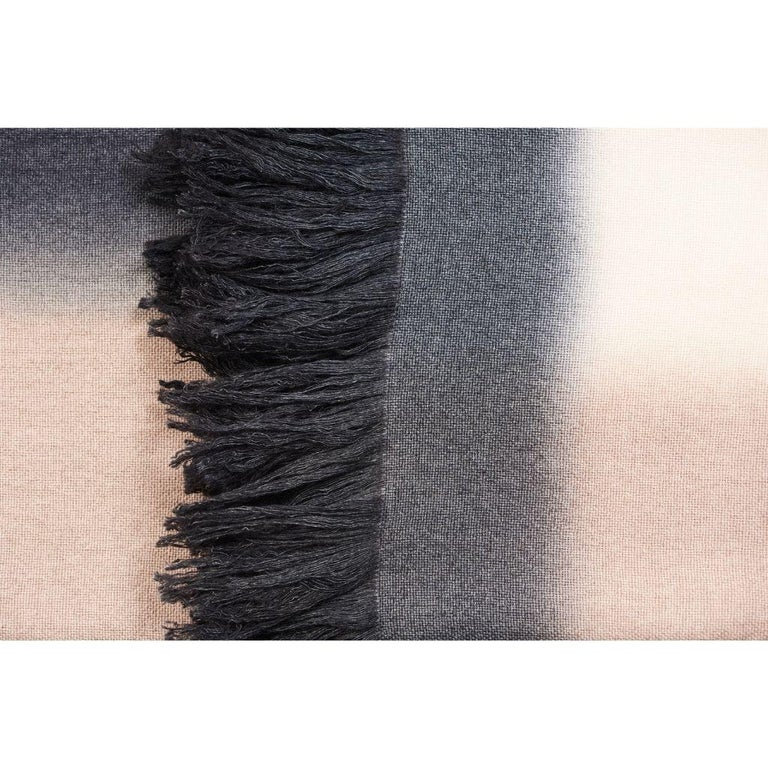 Toast Handloom Merino Throw / Blanket in Neutral Tones with Fringes For Sale 1
