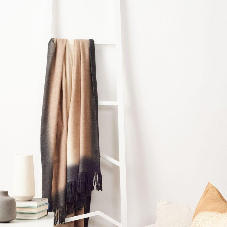 Hand-Woven Toast Handloom Merino Throw / Blanket in Neutral Tones with Fringes For Sale