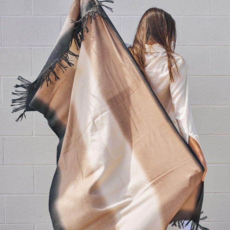 Yarn Toast Handloom Merino Throw / Blanket in Neutral Tones with Fringes For Sale