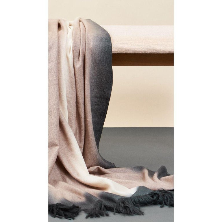 Toast Handloom Merino Throw / Blanket in Neutral Tones with Fringes For Sale 9